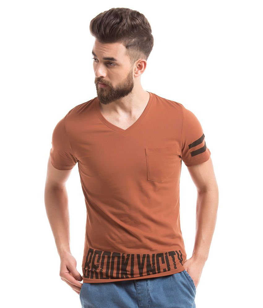 Prym Brown V-Neck T Shirt