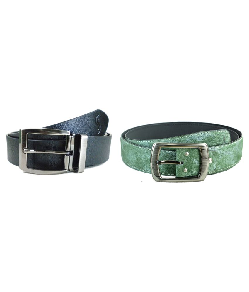 Sizzlers Black And Green Formal Leather Belt For Men - Pack Of 2