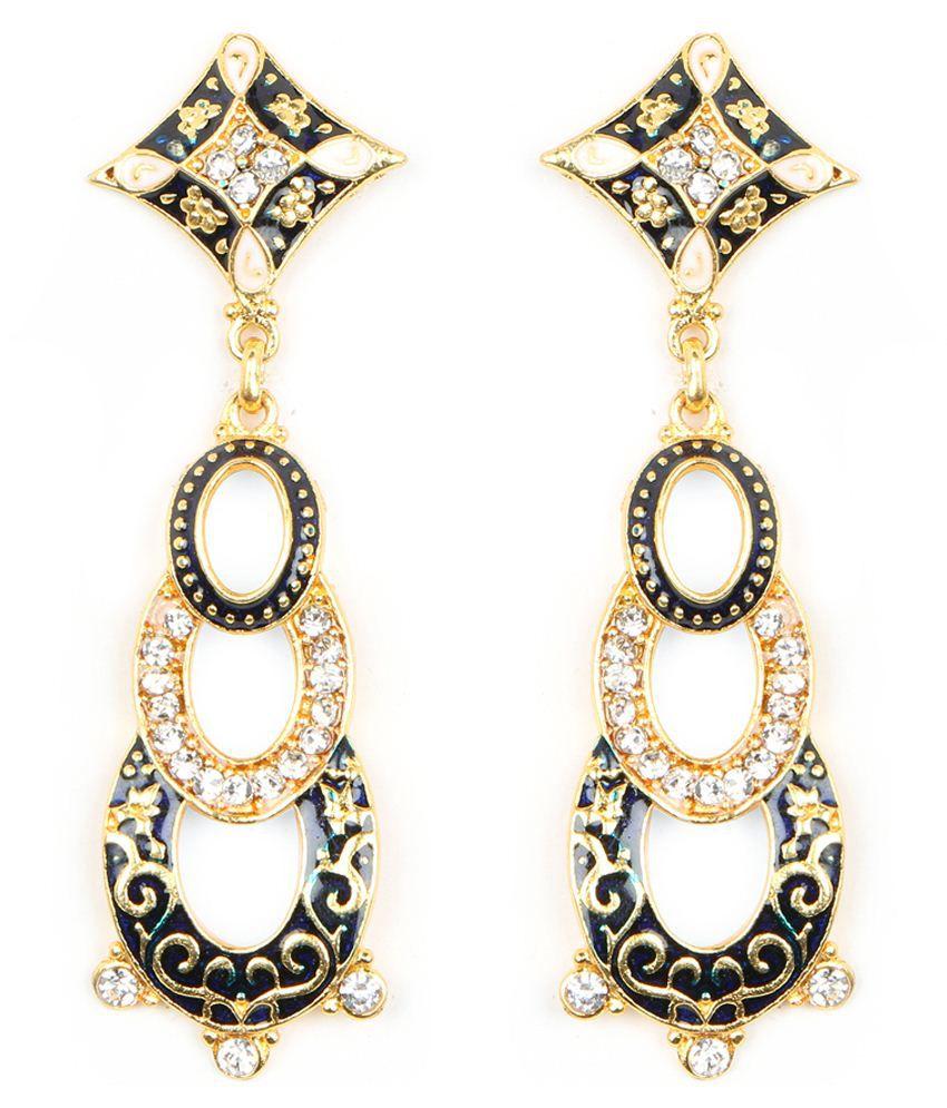 Johareez Golden & Black Brass Hangings Earrings