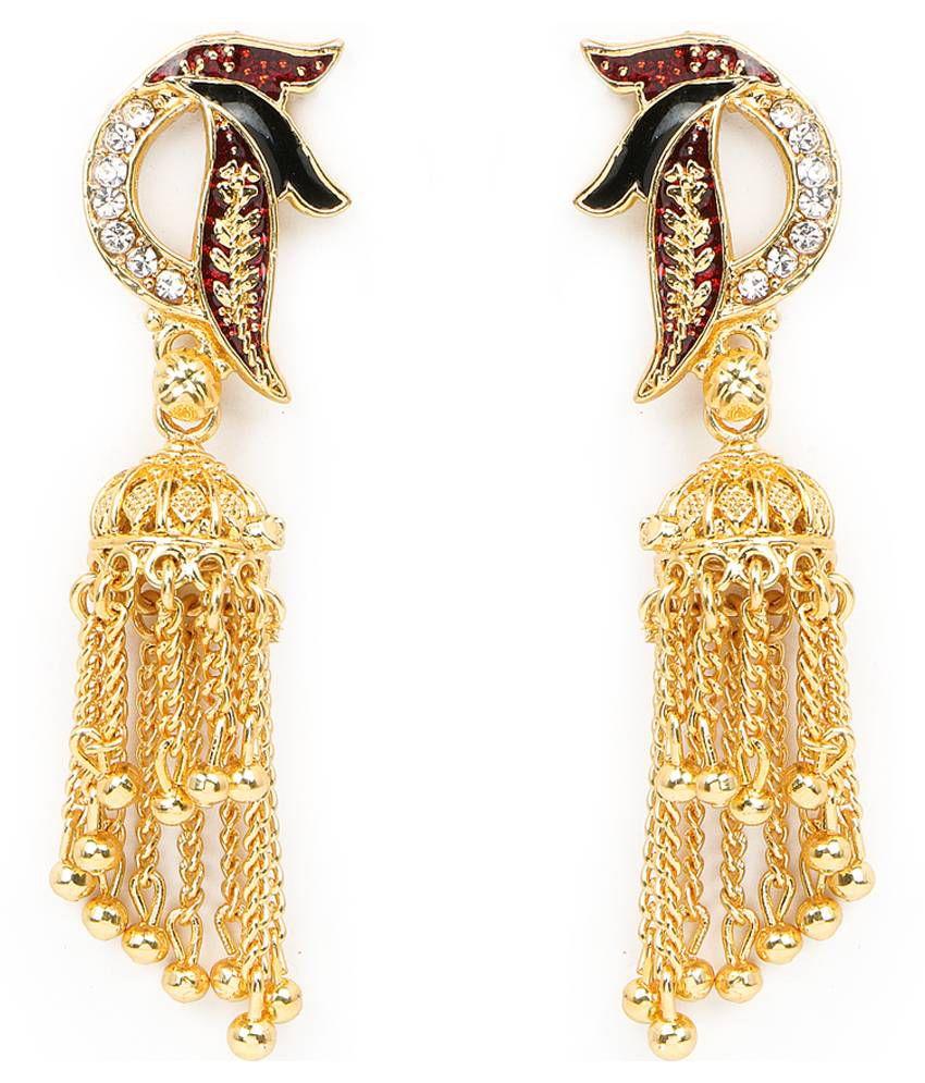 Johareez Golden Brass Hangings Earrings