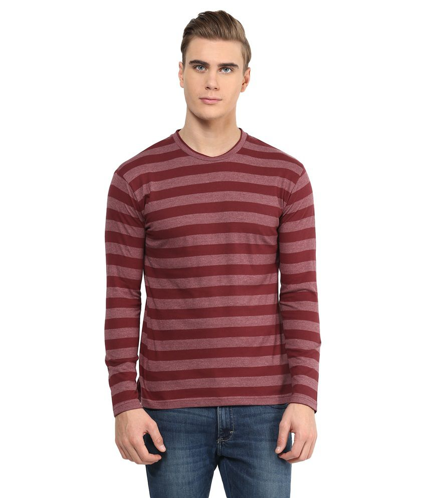 Hypernation Maroon Cotton T-Shirt