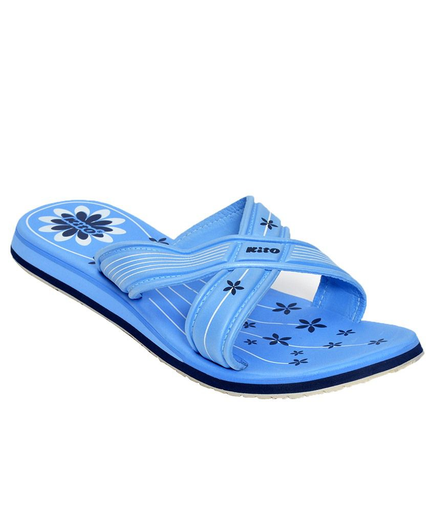 Kito Blue Low Heel Slippers