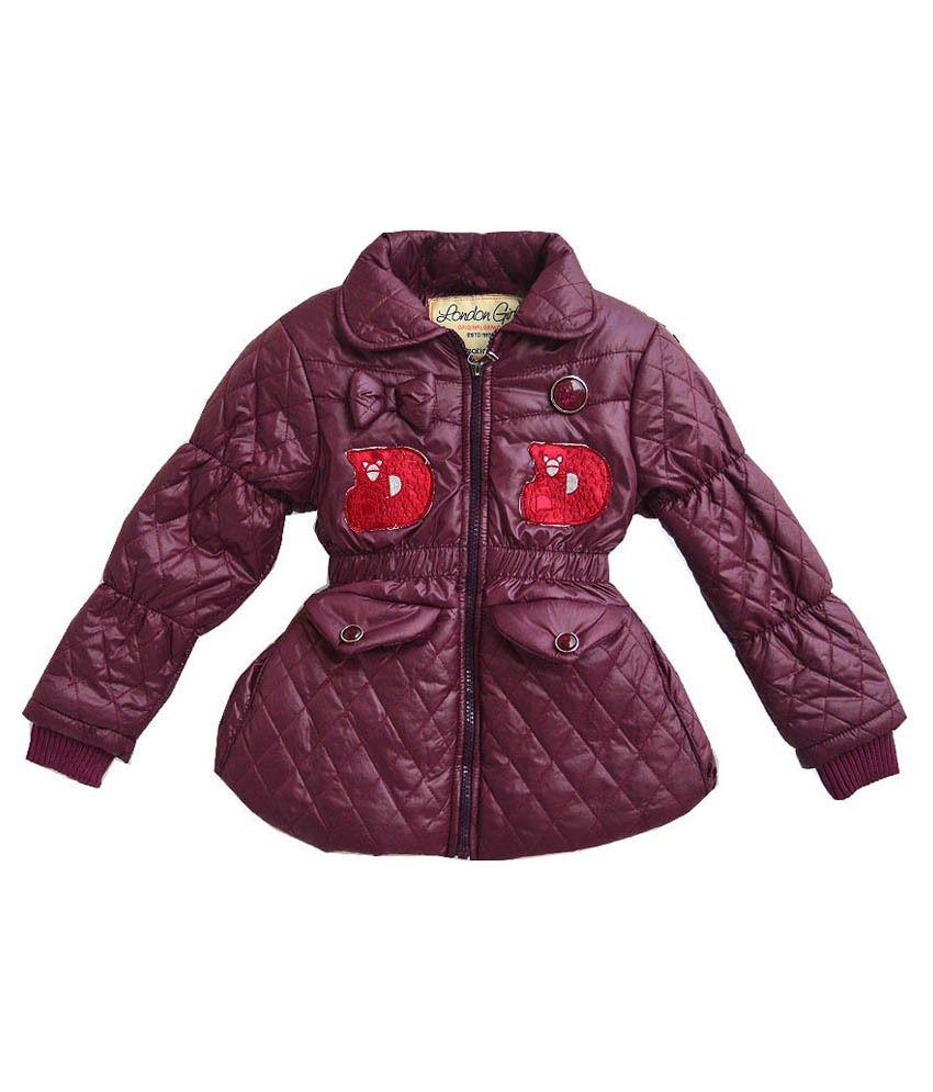London Girl Maroon Jacket For Girls