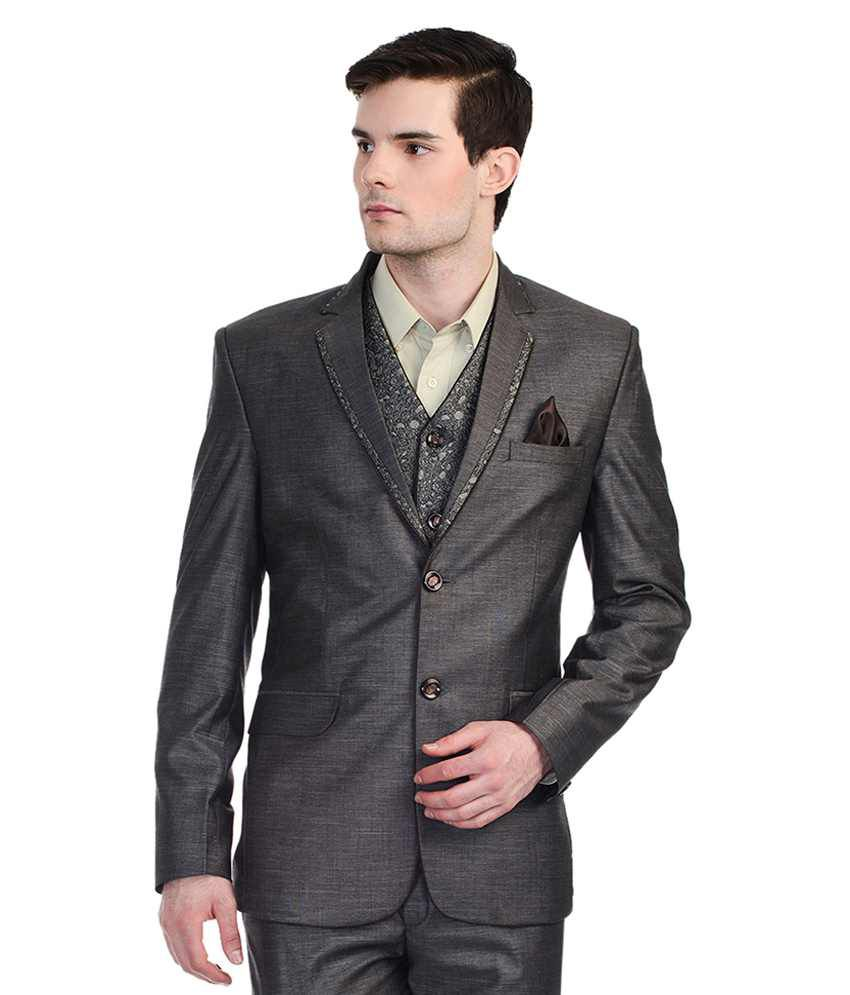 Luxurazi Grey Rayon 3 Piece Suit