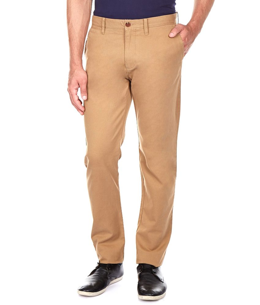 Satyam Garment Beige Regular Fit Casual Flat Trousers
