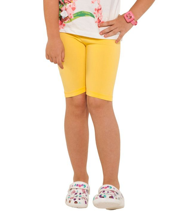 Go Colors Yellow Shorts For Girls
