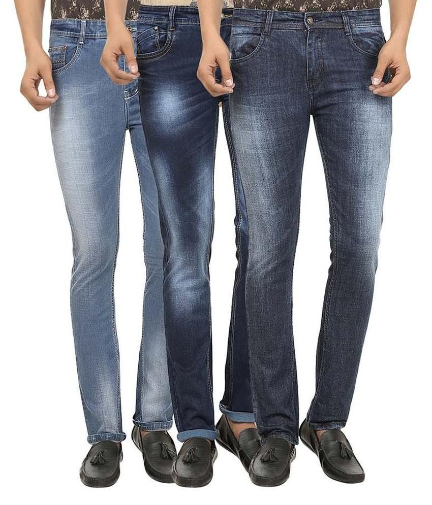 99 Degrees Multicolour Slim Fit Jeans Pack Of 3