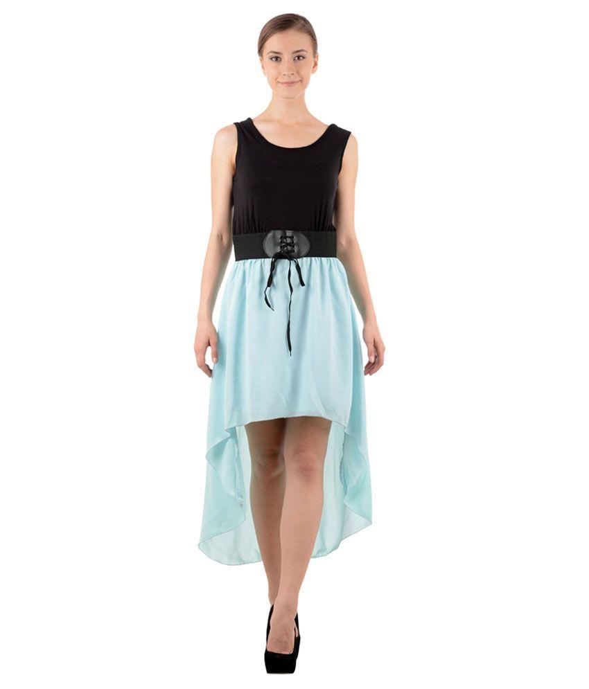 Raabtaa Black & Turquoise Long Dress