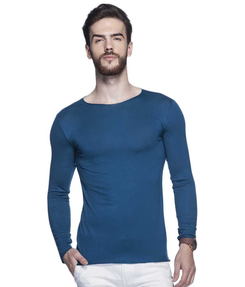 Tinted Teal Blue Solid Round Neck T Shirt