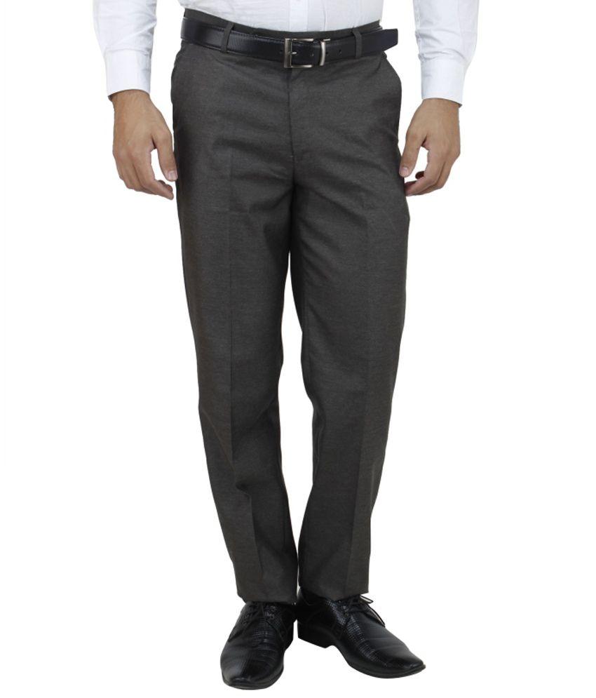 E Atavios Brown Regular Fit Formals Flat Trousers