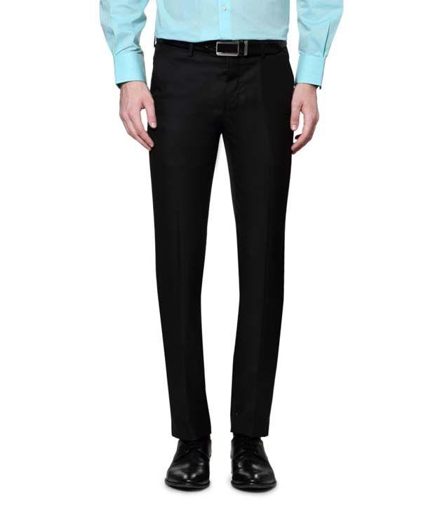 Fabulous Black Slim Fit Formal Flat Trousers