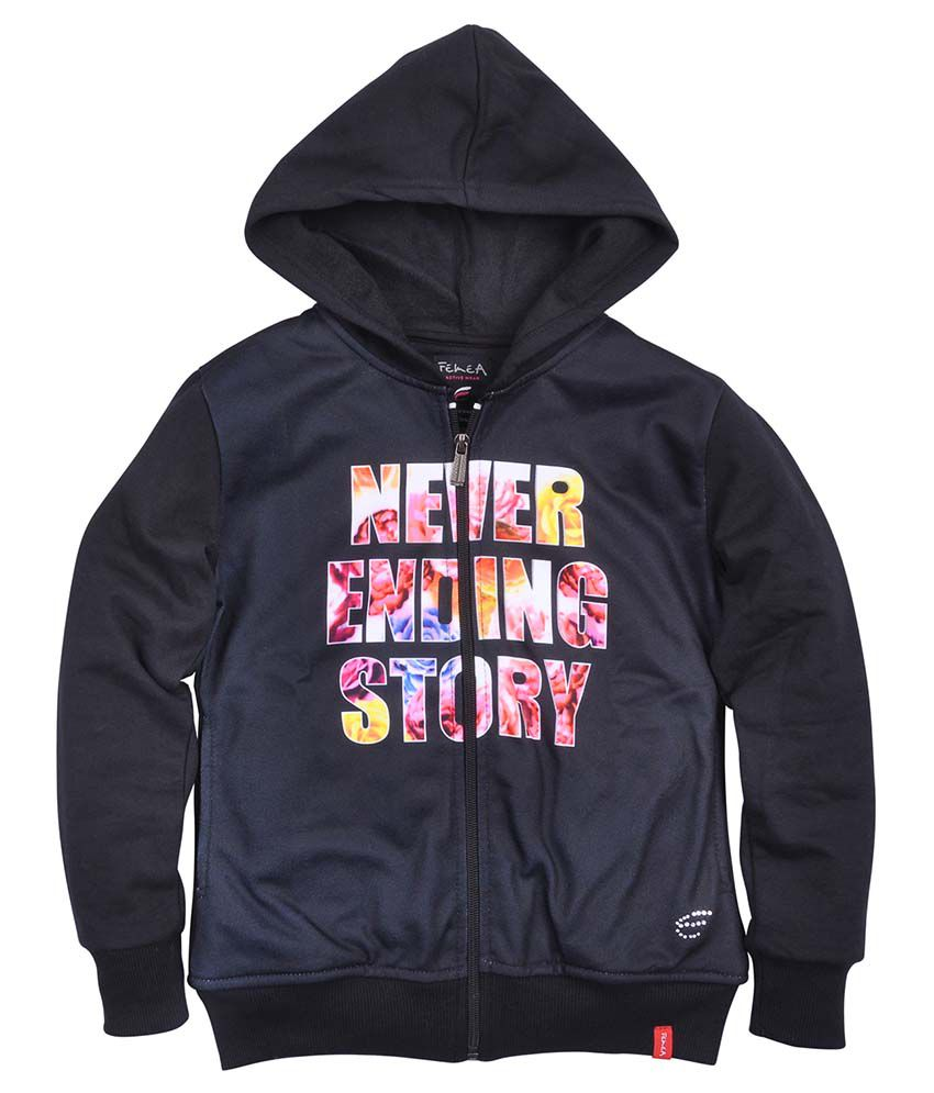 Femea Black Fleece Sweatshirt With Hood