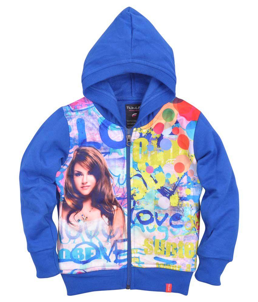 Femea Blue Fleece Sweatshirt With Hood