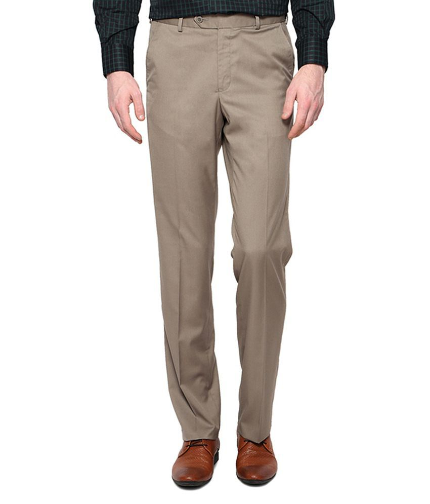 Meghdoot International Clothing Khaki Regular Fit Formal Flat Trouser