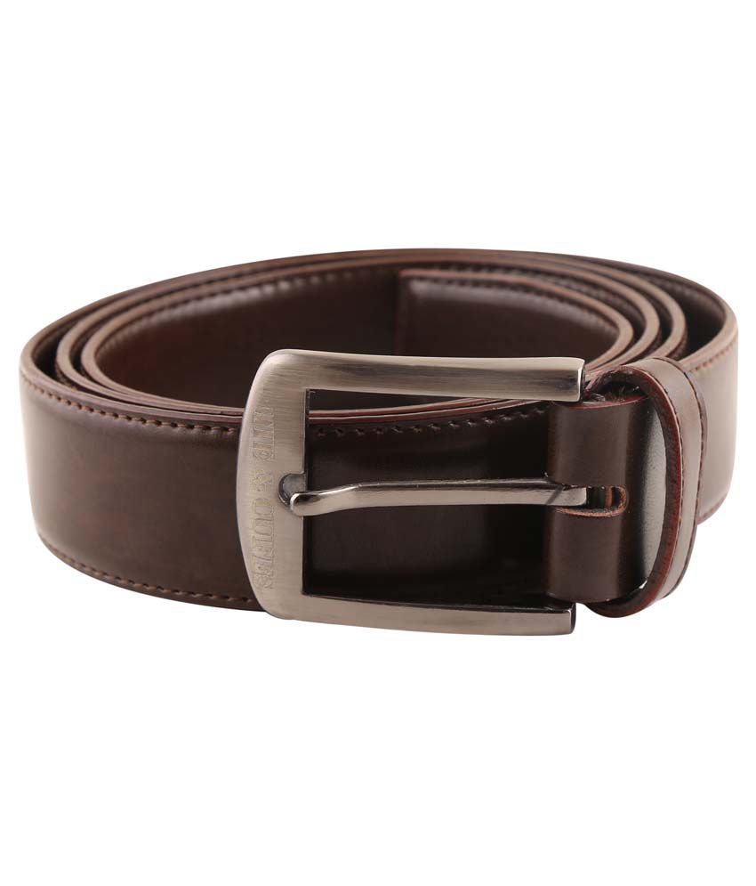 Tie & Cuffs Brown Leather Formal Belt For Men