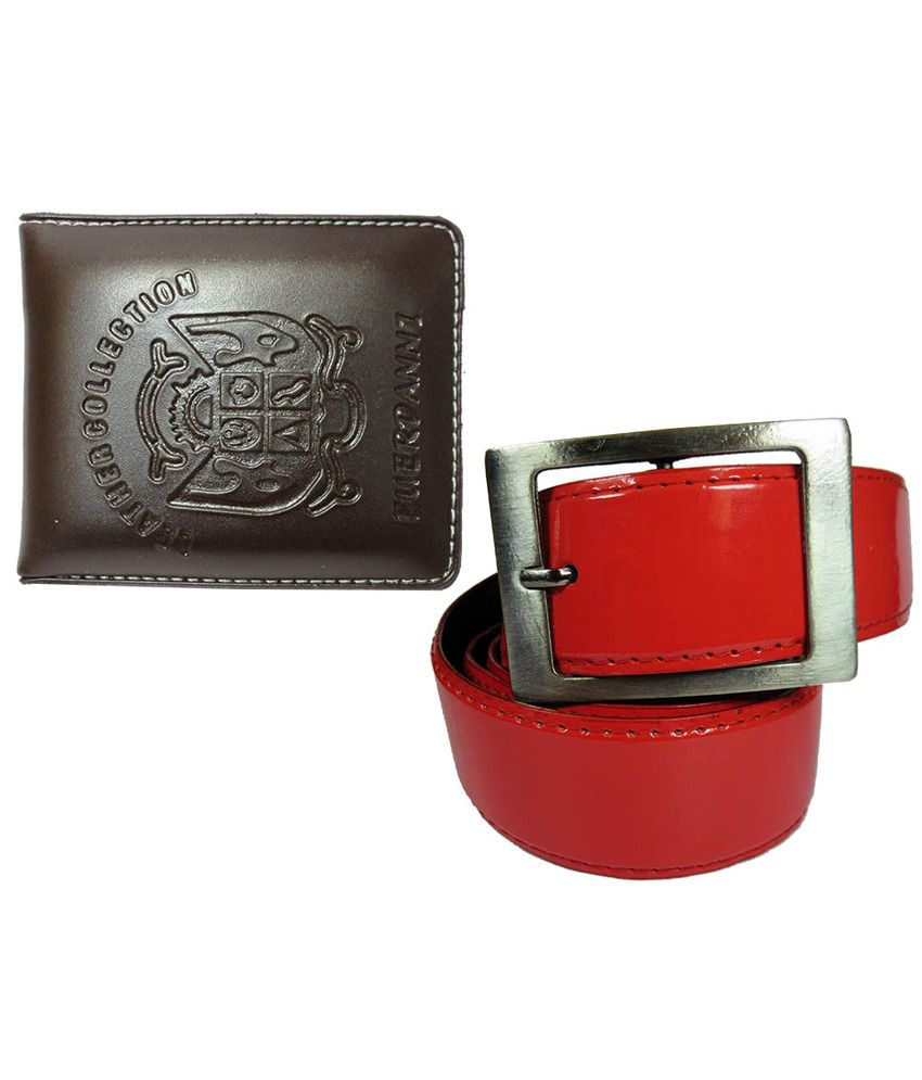 Apki Needs Combo Of Red Belt And Brown Wallet For Men