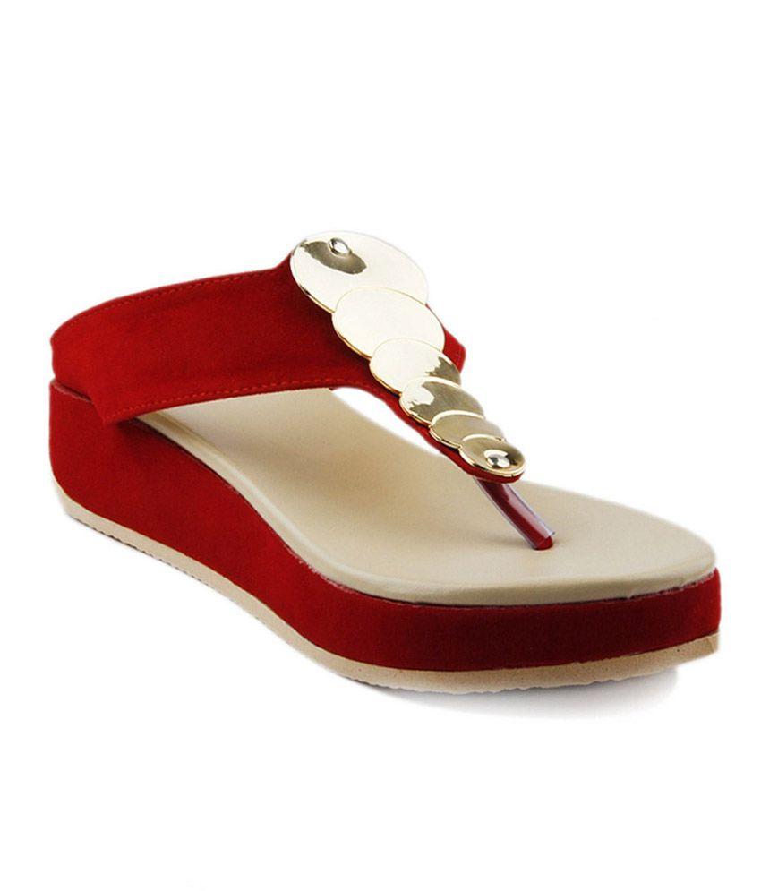 Ladies Comfort Red Platforms Heels