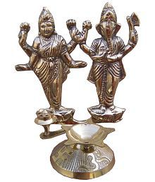 Decor8 Brass Glossy Laxmiji Ganeshji With Incense Stick And Deepak Holder