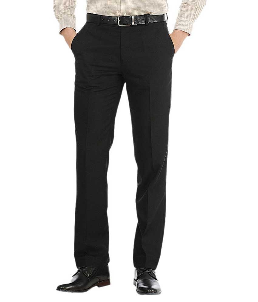Meghdoot International Clothing Black Regular Fit Formal Flat Trouser