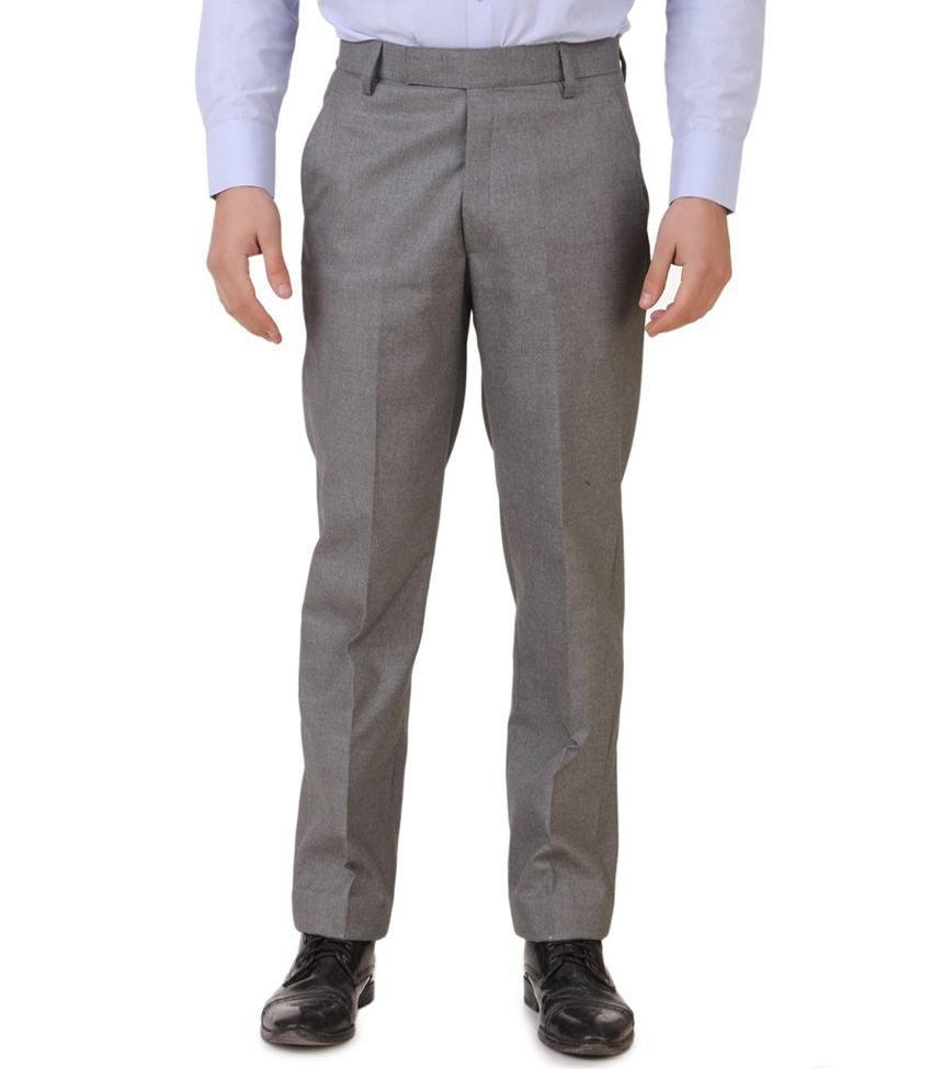 Meghdoot International Clothing Grey Regular Fit Formal Flat Trouser
