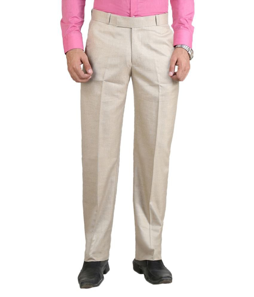 Meghdoot International Clothing Off White Regular Fit Formal Flat Trouser