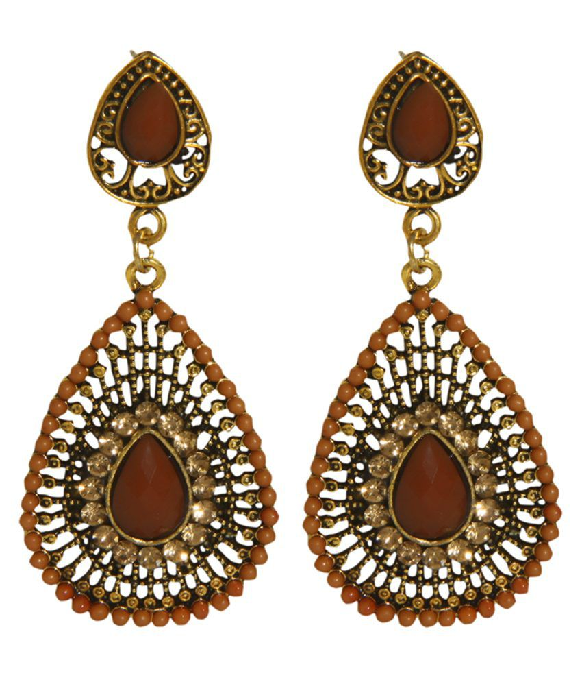 Rein Lifestyles Brown Alloy Hanging Earrings