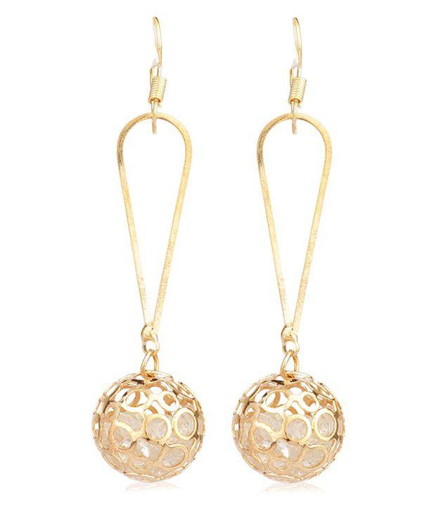Sahej Golden Designer Hanging Earrings