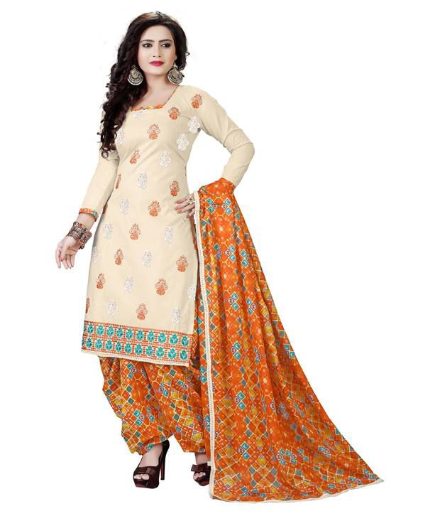 Radhika Suit House Beige Cotton Unstitched Dress Material