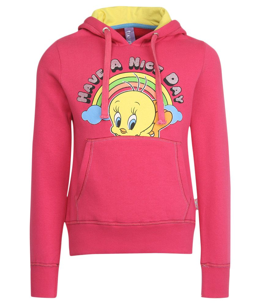 Tweety Pink With Hood Sweatshirt