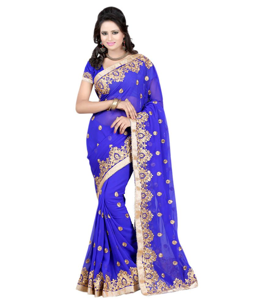 Pahal Fashion Blue Georgette Saree Buy Pahal Fashion Blue Georgette Saree Online At Low Price