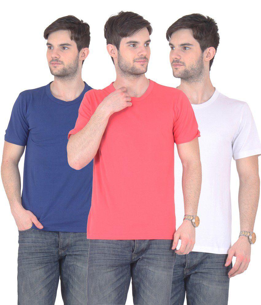 E'hiose Multicolour Cotton Blend T-shirt - Pack Of 3