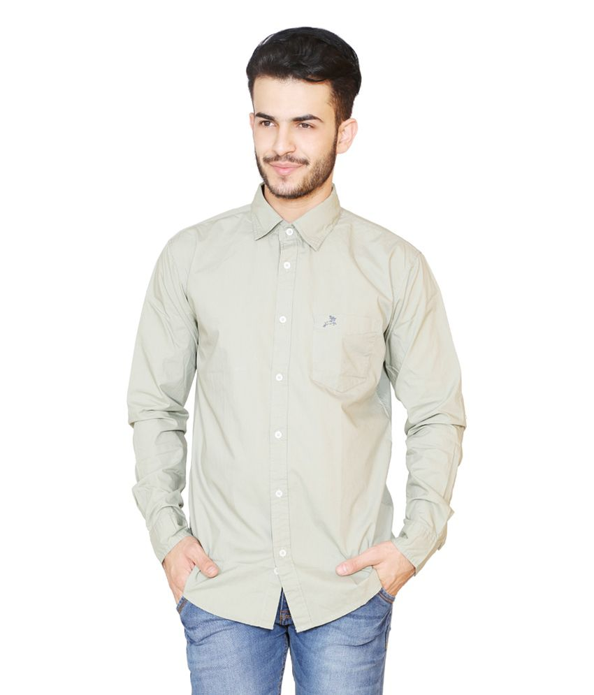 Roman Island Green Cotton Blend Slim Fit Shirt