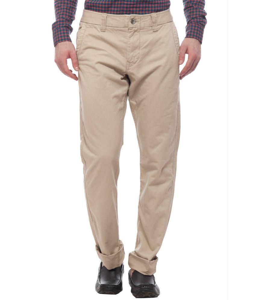 Divini Beige Slim Fit Casual Flat Trouser