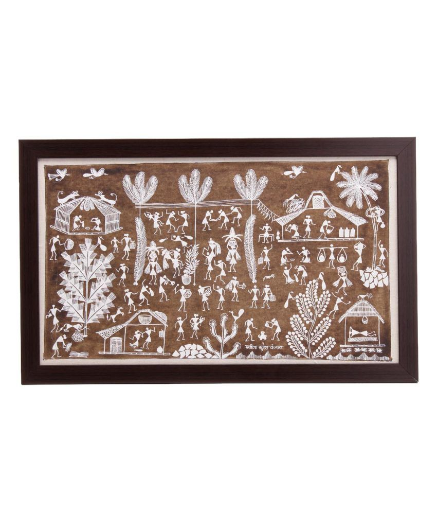Tribes India White and Brown Acrylic Folk Art Painting