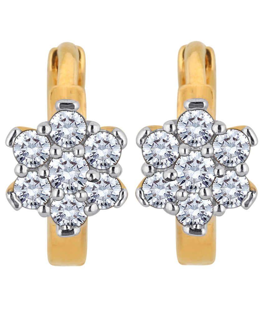 Myzevar Floria Earrings 14Kt Diamond Gold Huggie Earring