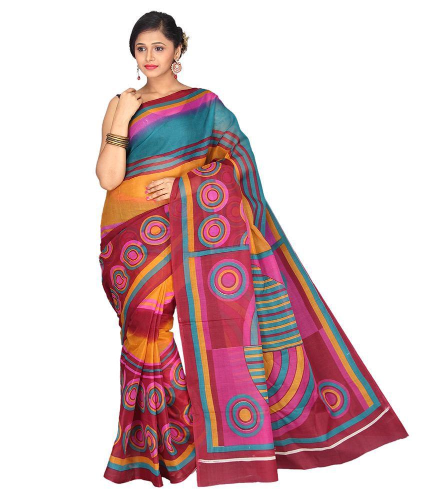 Pavecha's Multicolour Polycotton Saree