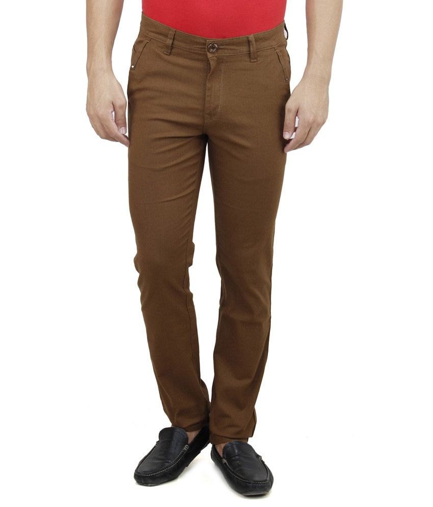 Satyam Garments Brown Regular Fit Formal Flat Trousers