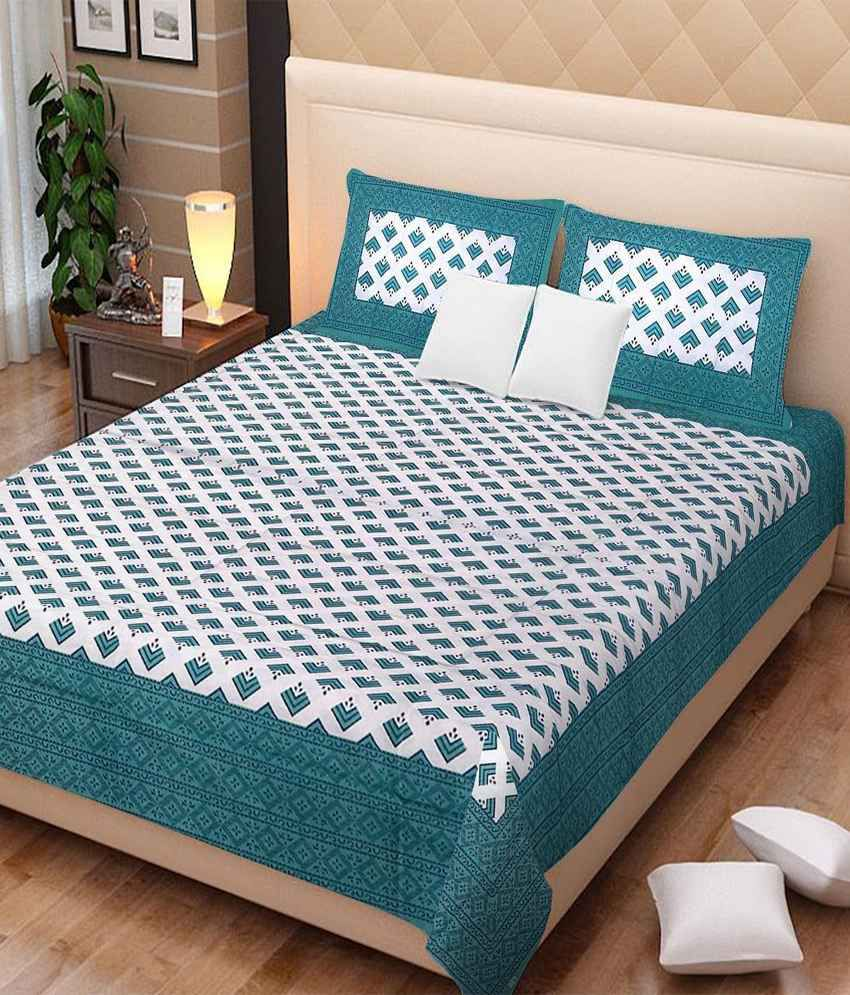 Uniqchoice White And Green Cotton Printed Double Bedsheet With Two Pillow Covers