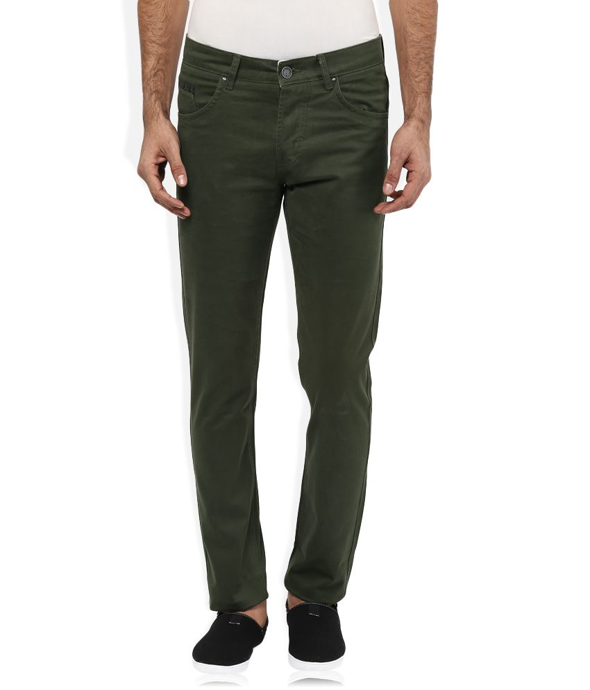 Spykar Green Solid Flat Front Trousers