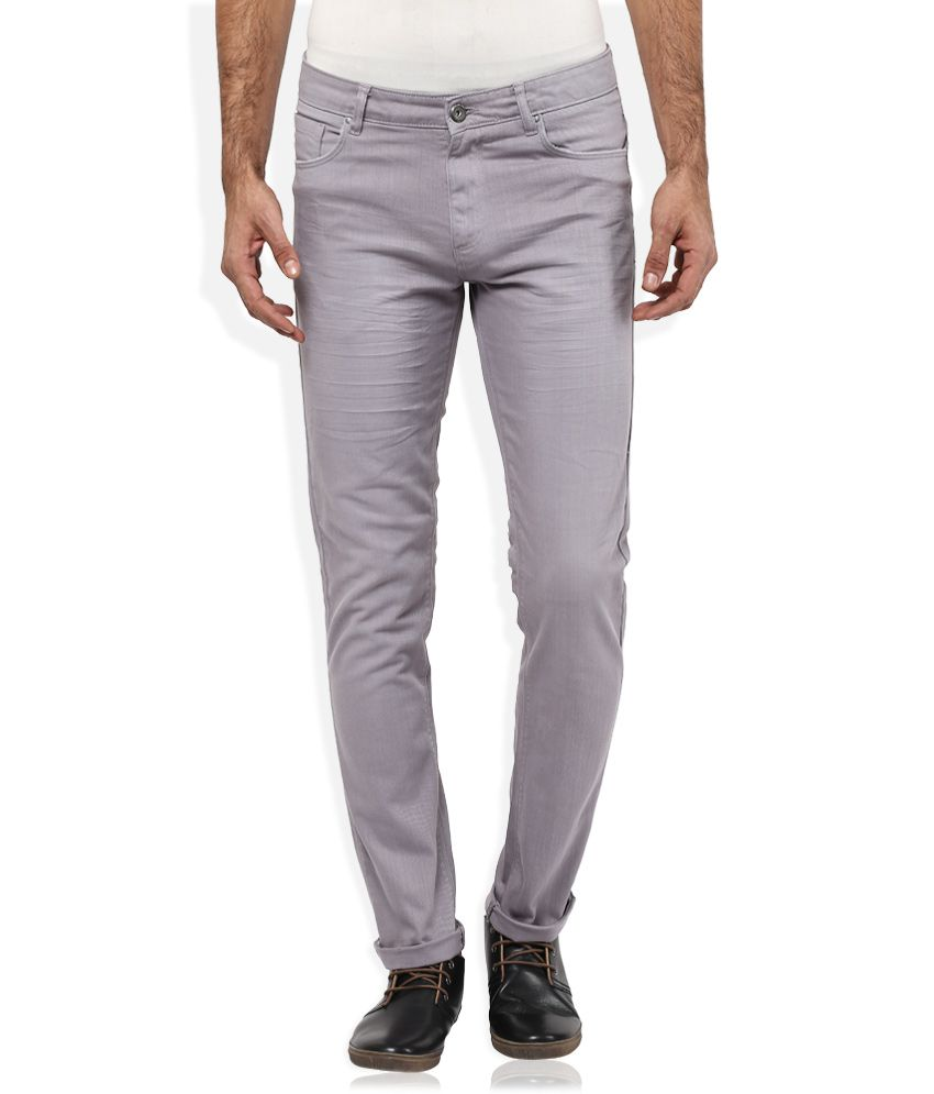Spykar Grey Solid Flat Front Trousers