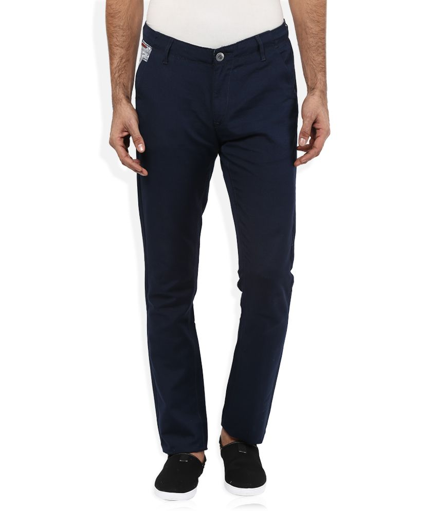 Spykar Navy Blue Solid Flat Front Trousers