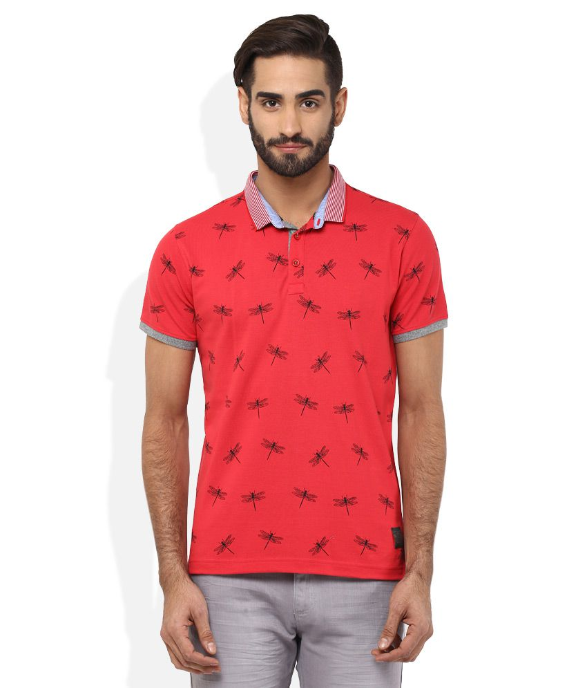 Spykar Red Polo T-Shirt