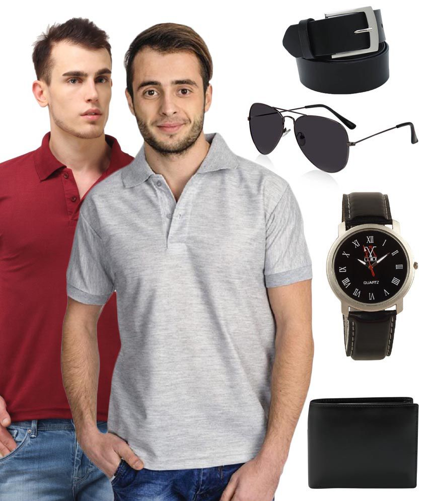 Lime Black Belt With T-shirt , Sunglasses , Watch And Wallet