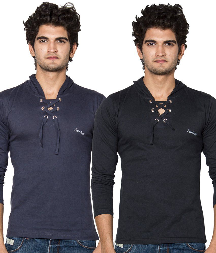 Stylogue Navy and Black Cotton Hooded T-shirts (Pack of 2)