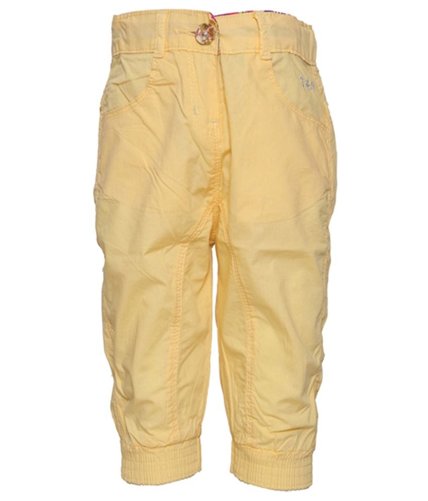 Tales & Stories Yellow Cotton Capris For Girls