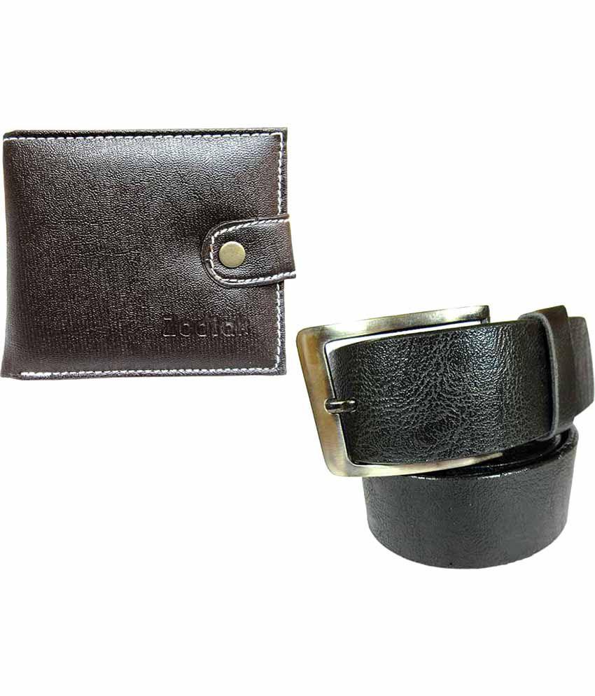 Apki Needs Black Casual Belt With Wallet For Men