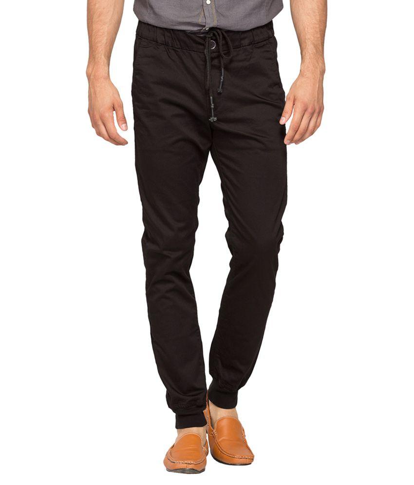 Spykar Black Regular Flat Trouser
