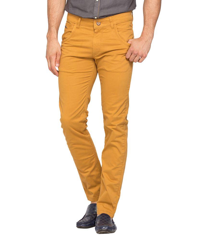 Spykar Brown Slim Fit Trousers