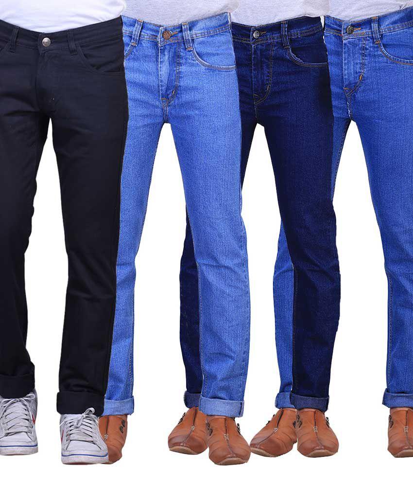 X-cross Blue Slim Fit Jeans - Pack Of 4