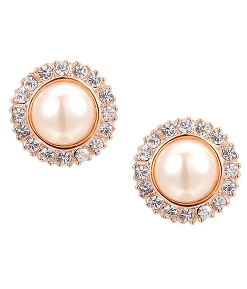 Kaizer Jewelry Golden Pearls Stud Earrings